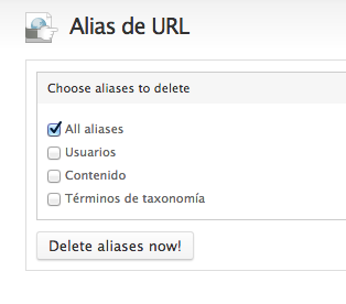 Drupal Delete all aliases